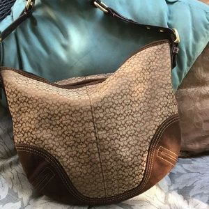 Coach signature shoulder bag, fabric and suede